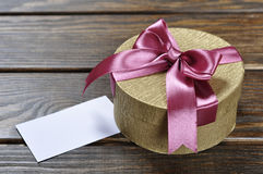 Golden gift box Stock Photography
