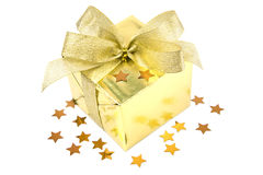 Golden gift box with bow isolated Royalty Free Stock Photo