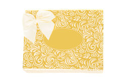 Golden gift box with bow tie Royalty Free Stock Photos