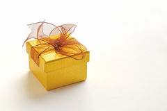 Golden gift box with brown tie Stock Images