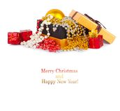 Golden gift box with Christmas balls and garlands Royalty Free Stock Photos