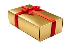 Golden gift box closeup Royalty Free Stock Photos