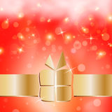 Golden gift box in cute background card Stock Photography