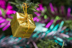 Golden gift box decorations. Stock Image