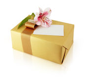 A golden gift box Stock Photography