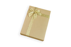 Golden gift box with golden ribbon Royalty Free Stock Photography