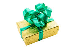 Golden gift box with green bow Royalty Free Stock Images