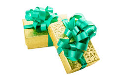 Golden gift box with green bow Stock Photo
