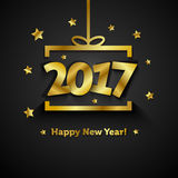 Golden gift box with 2017 Happy New Year greeting card. Sample Royalty Free Stock Images