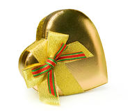 Golden gift box in heart shape Stock Photos