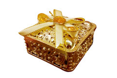 Golden gift box Royalty Free Stock Photos