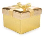 Golden gift box Stock Photo