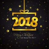 Golden gift box 2018 New Year. Stock Image