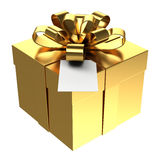 Golden gift box with paper card, PNG transparent background
