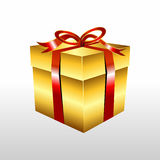 Golden gift box with ribbon illustration. Gold Gift box vector Stock Photos