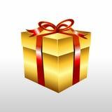 Golden gift box with ribbon illustration. Stock Photos