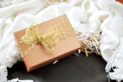 Golden Gift Box on Scarf Background Royalty Free Stock Photos