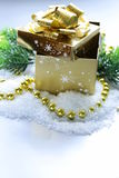 Golden gift box in the snow, christmas still life Royalty Free Stock Image