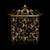 Golden gift box stylized, floral ornament design Royalty Free Stock Image