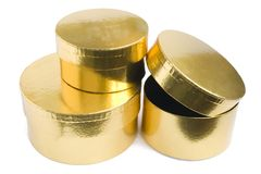 Golden gift boxes Royalty Free Stock Photography