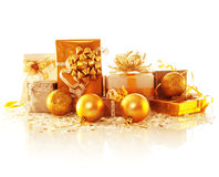 Golden gift boxes Stock Photo