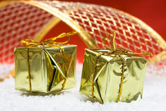 Golden gift boxes Royalty Free Stock Photo