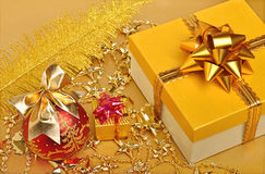 Golden gift boxes, christmas bauble,garland Stock Image