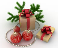 Golden gift boxes with christmas decorations on white Stock Images