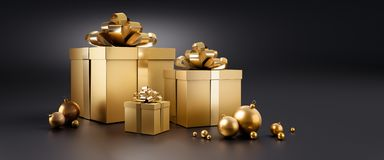 Free Golden Gift Boxes In Snow In With Dark Background Royalty Free Stock Images - 155608739