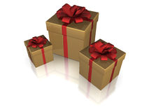 Golden gift boxes, isolated Stock Photography