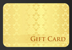 Golden gift card with tulip ornament Royalty Free Stock Image