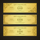 Golden gift certificate banners set Royalty Free Stock Photo