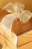 Golden gift close-up Stock Photo