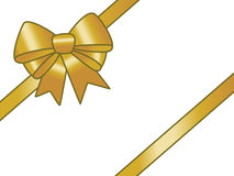 Golden gift ribbon. Golden ribbon and bow on white background Royalty Free Stock Photos