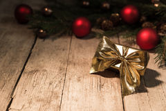 Golden gift with ribbon Stock Photo