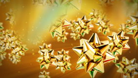 Golden gift ribbon flying, stock footage stock footage