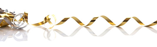 Golden gift ribbon isolated on white. Background Royalty Free Stock Photo