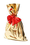Golden gift sack Stock Photo