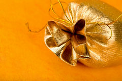 Golden gift sack stock images