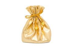 Golden gift sacks Stock Photo