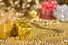 Golden gift. Silver Glitter background, Christmass, valentine Royalty Free Stock Photo