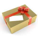 Golden gift with white label Royalty Free Stock Photos