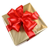 Golden Gift With Red Bow Stock Images