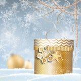 Golden giftbox, christmas motive Royalty Free Stock Image