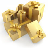 Golden gifts isoleted Royalty Free Stock Photography