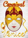 Golden and Gilded Volto Mask with Ribbons Commemorating Venice Carnival, Vector Illustration. Poster with luxurious female volto mask covered in gold ornaments Royalty Free Stock Photography