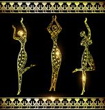 Golden Girles And Dance Royalty Free Stock Photography