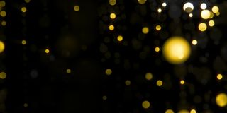 Golden glamour light bokeh particles motion falling in black night stock video footage