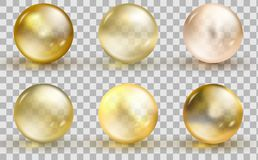 Golden glass ball template. Oil gold bubble isolated on transparent background. vector illustration