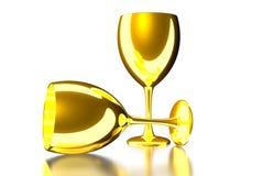 Golden glass 3d. Golden glass 3d white background vector illustration